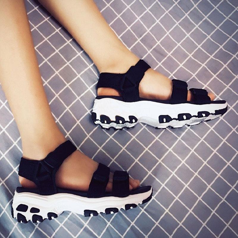 Skechers斯凯奇女鞋熊猫鞋夏季Dlites厚底凉鞋魔术贴休闲鞋 31514