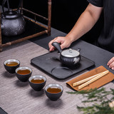 Black pottery mug travel tea set Kung Fu suit cover bowl carrying bag with teapot side pot pot dry bubble