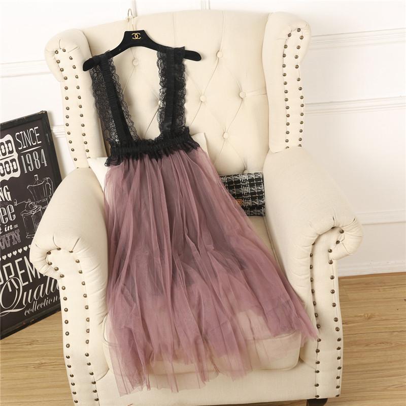 黑色浅v背带裙