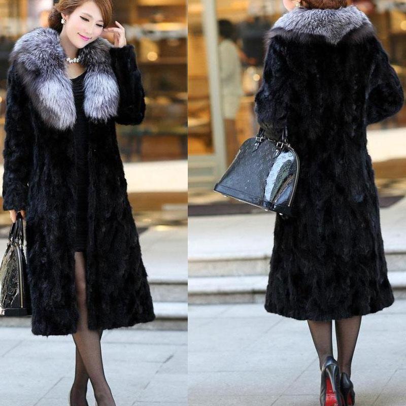 2017 new Haining imitation mink fur female mink coat Female long mink in the long section
