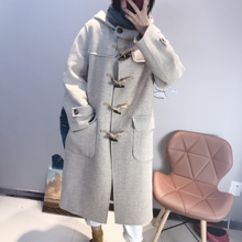 Anti-season double-sided cashmere overcoat women's medium and Long-style 2019 new Korean version of loosely fashionable cowhorn button wool jacket