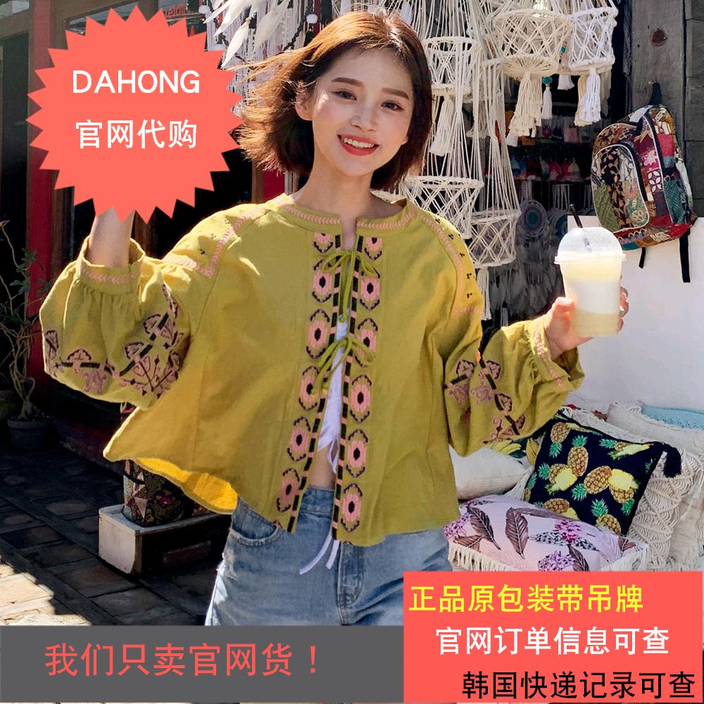 韩国代购时尚起义19初夏新款民族风刺绣系带宽松短款罩衫|784267