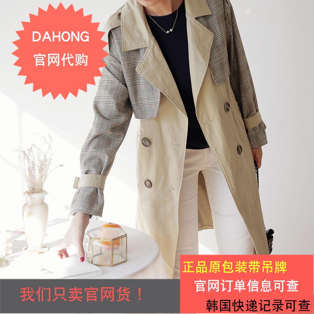 韩国代购时尚起义2019春季新款拼色方格纹双排扣风衣外套|767553