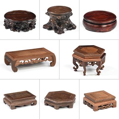 红木雕茶具架茶壶架 实木壶垫摆件底座 隔热紫砂壶承木托茶道零配