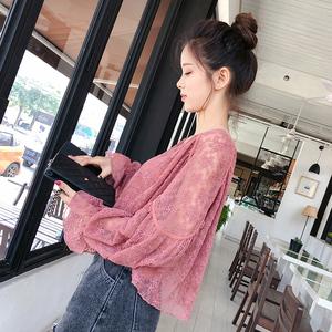 图片:谜秀蕾丝衫女长袖2018春装新款韩版宽松甜美两件套衬衫短款上衣潮
