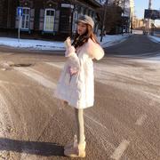 【现货闪发】羽绒服女2017冬装新款韩国超大毛领白色中长款外套潮