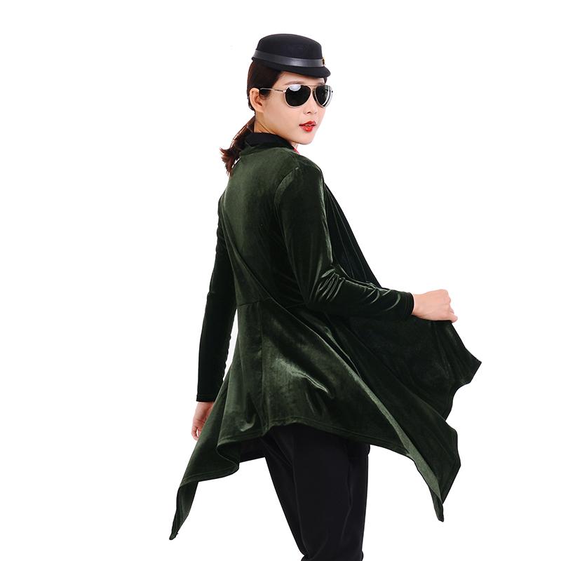 秋季2018新款水兵舞服装全新演出服套装金丝绒长款风衣女开衫上衣
