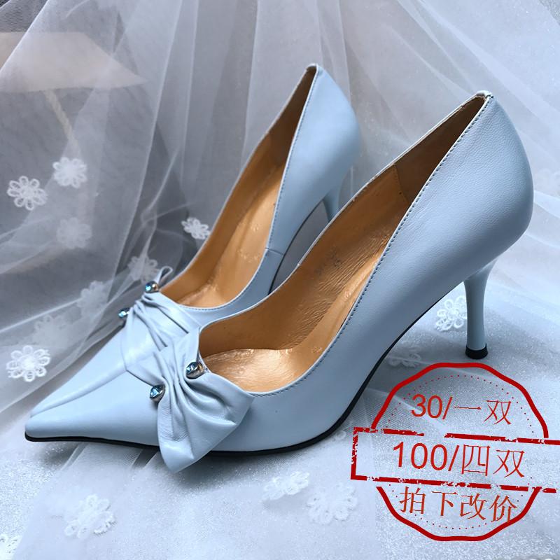 蝴蝶结羊皮OL单鞋
