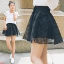 夏天欧美欧根纱女士半身裙女款蝴蝶大码高腰格子短裙女式裙子夏季
