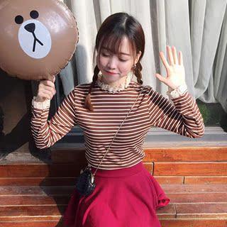春季新款女装2019韩版学院风甜美蕾丝拼接学生条纹T恤打底衫上衣