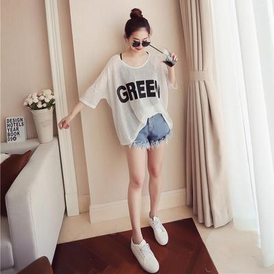 2017新款夏装两件套七分袖宽松中长款T恤女短袖韩版吊带上衣体恤