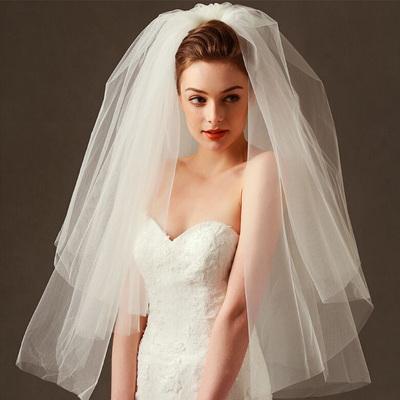 韩式新娘婚纱多层蓬蓬头纱拍照结婚头纱新款短款简约欧式旅拍头纱