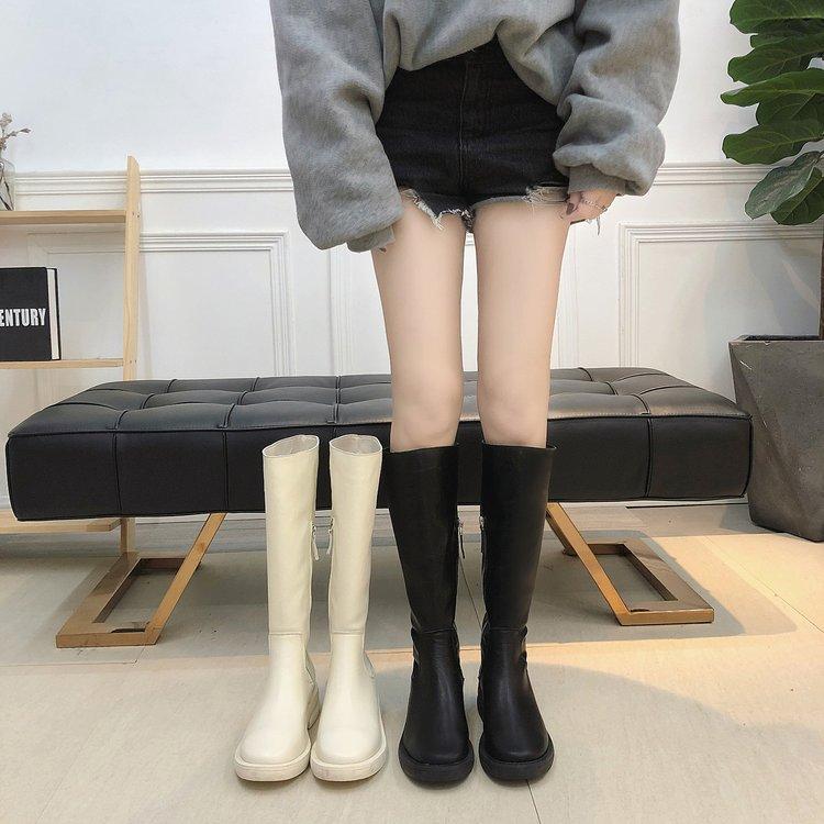 欧美时尚厚底平底鞋平跟中跟加绒扁头高筒靴长靴骑士米白色女靴子