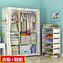 双人收纳衣柜木质简易组装布艺钢架牛津布衣柜简约现代经济型柜子