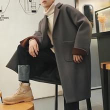 2018流行大衣男冬季韩版落肩中长款外套宽松毛呢加厚风衣ins学院