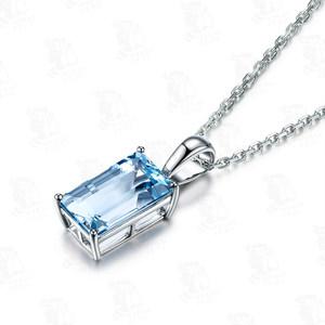 米莱珠宝 18K金项链 天然海蓝宝吊坠女 镶嵌彩色宝石 定制带证书