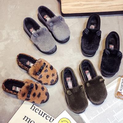 棉鞋女冬季保暖加绒韩版低帮学生毛毛鞋家居平底一脚蹬百搭豆豆鞋