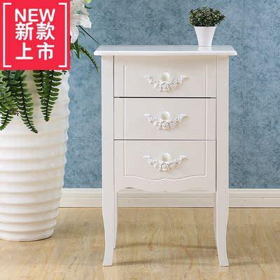 韓式三斗柜實木臥室象牙白色儲物柜高腳收納柜子高腳歐式環保邊柜在哪買