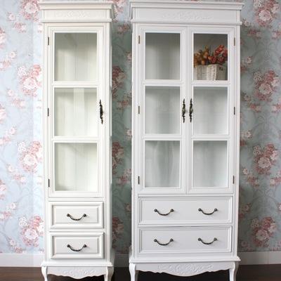 韩式 欧式 田园 白色雕花 展示柜 储物柜 三面玻璃 酒柜 双门书柜价格