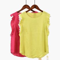 糖果色夏季新款大码女装T恤蕾丝拼接短袖后拉链圆领休闲百搭上衣