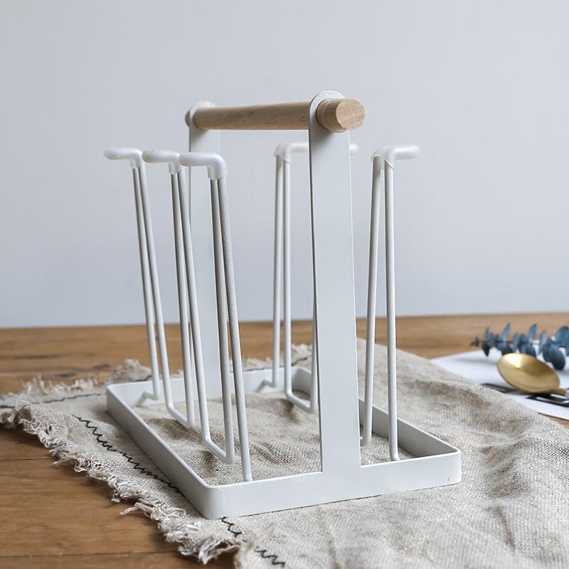 北欧创意欧式木手柄简约铁艺杯架马克杯咖啡杯沥水杯酒杯简约杯架