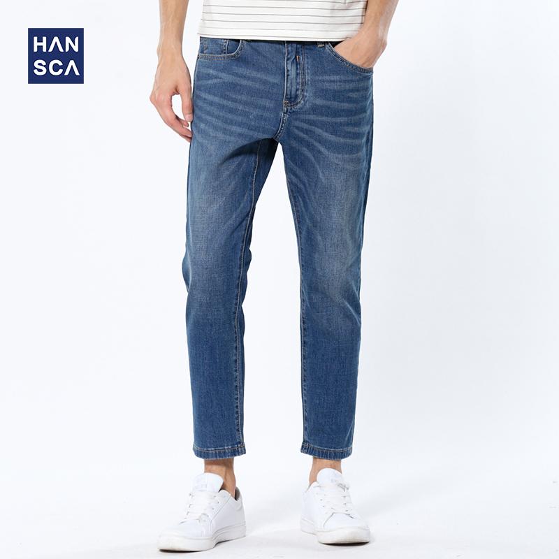 薄款浅蓝色牛仔裤
