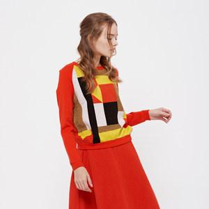 DECOSTER/德诗秋冬款七巧板羊毛圆领针织套衫长袖女打底8F1542084