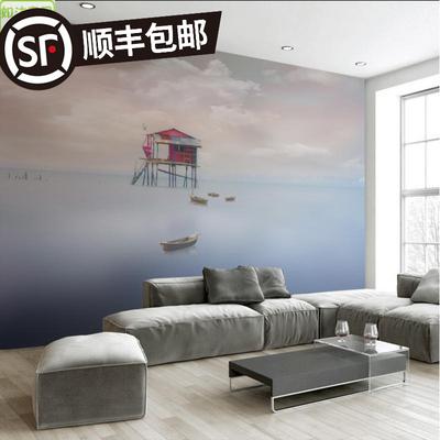 简约抽象客厅壁画夕阳西下大海风景电视背景墙纸卧室沙发无缝壁纸性价比高吗