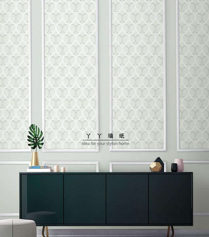 棕色浅灰浅青色 简约几何图案 韩国壁纸正品大卷客厅卧室背景墙纸