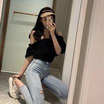 夏季一字肩上衣百搭复古女装新款2019显瘦短款衬衫韩版短袖衬衣潮