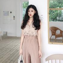 阔腿裤两件套女装春季韩版时尚chic百搭气质小仙女无袖蕾丝上衣