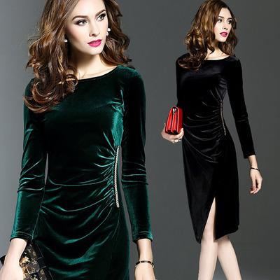欧洲站大牌高端秋女装时尚金丝绒包臀修身显瘦一步裙打底连衣裙子