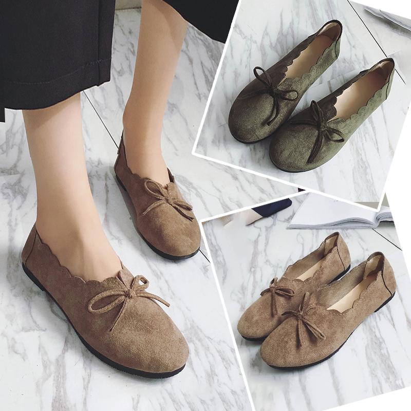 豆豆鞋女磨砂