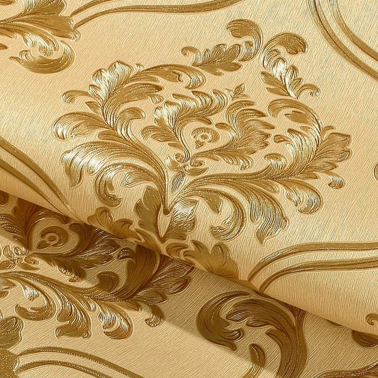 3D立体欧式大马士革壁纸防水金色温馨卧室客厅工程电视背景墙墙纸