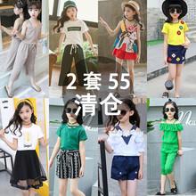 童装女童夏装2018新款韩版时尚时髦套装中大儿童宝宝洋气两件套潮