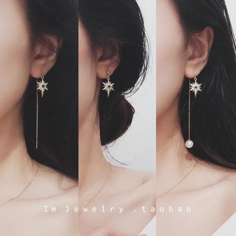 925银针玛雅六角星蓝锆石不对称珍珠14k包金耳线耳钉 甜美气质 女