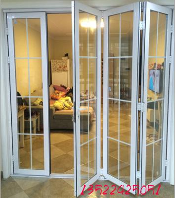 大折叠门推拉门阳台钢化玻璃门隔断门客厅铝镁钛合金室内 移门 窗实体店