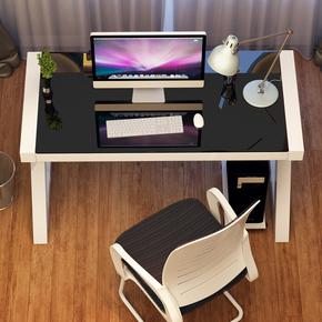 钢化玻璃商务办公桌单人职员桌台式家用电脑台带吊柜简易写字桌子