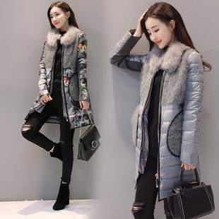 羽绒大衣2017冬装新款韩版修身狐狸毛领中长款花色羽绒服外套女潮