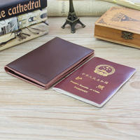 Simple thin section leather passport package business leather passport sleeve ladies ticket holder men's wallet document bag card package