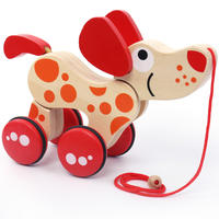 Infant children wooden drag toy car will run puppy crocodile hand pull line rope walker baby 1-3 years old