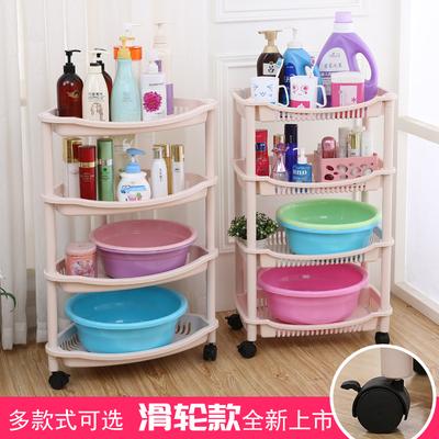 加厚承重浴室置物架卫生间脸盆架厨房收纳架塑料架子三角四层落地