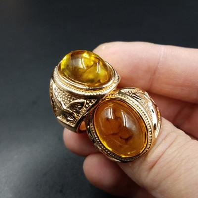 高档精美 新款琥珀蛋面戒指 透明琥珀戒指 蜜蜡戒指厂家直销