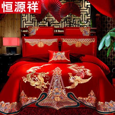 恒源祥全棉婚庆床上四件套大红色喜被床单新婚被套纯棉结婚床品