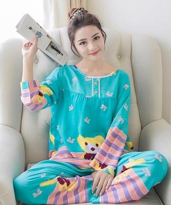 绵绸睡衣女士长袖纯棉绸韩版可爱家居服春秋夏季人造棉布薄款套装