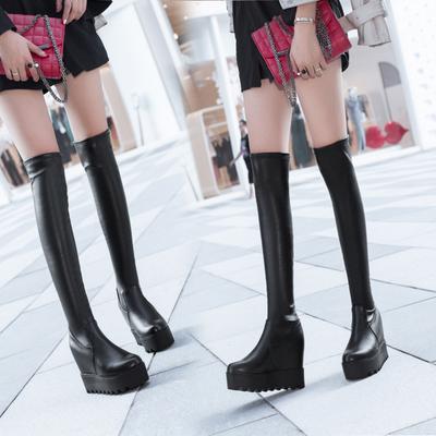 长靴女过膝内增高秋靴女冬2018新款瘦腿弹力高筒靴松糕厚底长筒靴
