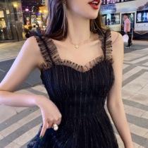 裙子女2019新款夏网纱吊带连衣裙法式收腰超仙甜美chic温柔仙女裙