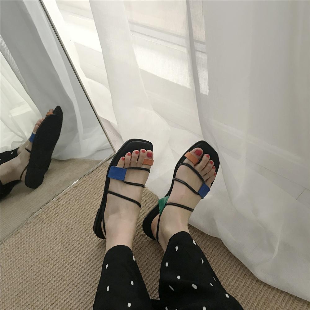 复古方头套趾彩色细带罗马框架橡胶软底鞋子女凉鞋平底鞋度假女鞋