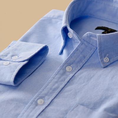 冬季男士休闲修身纯棉牛津纺牛仔打底衬衫长袖韩版青年白衬衣寸衣