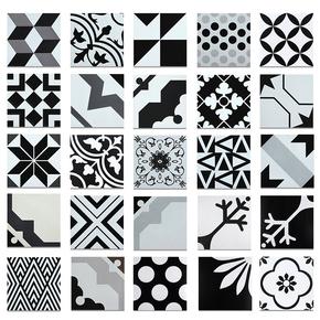 北欧风格几何花砖黑白瓷砖花片餐厅墙砖DIY背景拼图墙地砖200x200